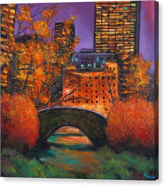 Manhattan Skyline Canvas Print - New York City Night Autumn by Johnathan Harris