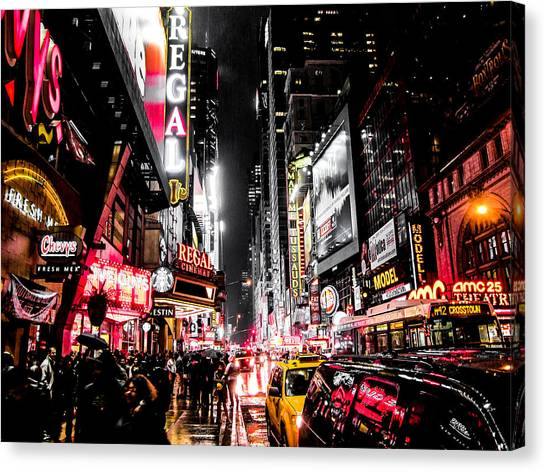 Neon Canvas Print - New York City Night II by Nicklas Gustafsson