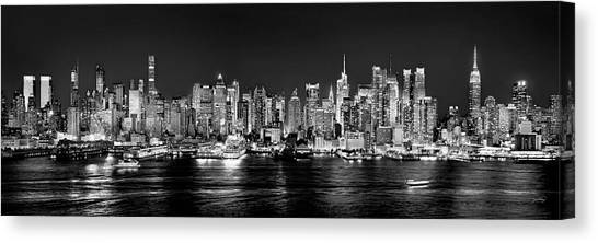 Broadway Canvas Print - New York City Nyc Skyline Midtown Manhattan At Night Black And White by Jon Holiday