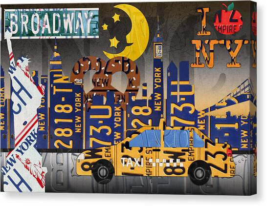 Empire Canvas Print - New York City Nyc The Big Apple License Plate Art Collage No 2 by Design Turnpike
