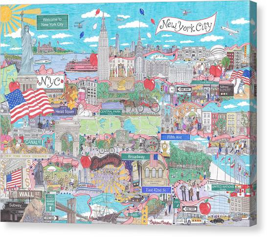 New York City On A Sunny Day Canvas Print