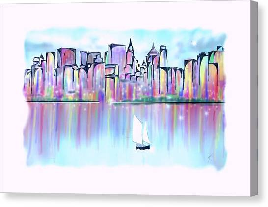 Canvas Print featuring the digital art New York City Scape by Darren Cannell