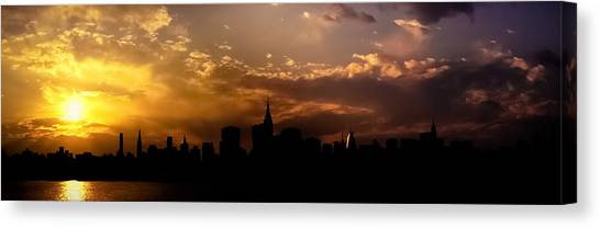 City Sunset Canvas Print - New York City Skyline At Sunset Panorama by Vivienne Gucwa
