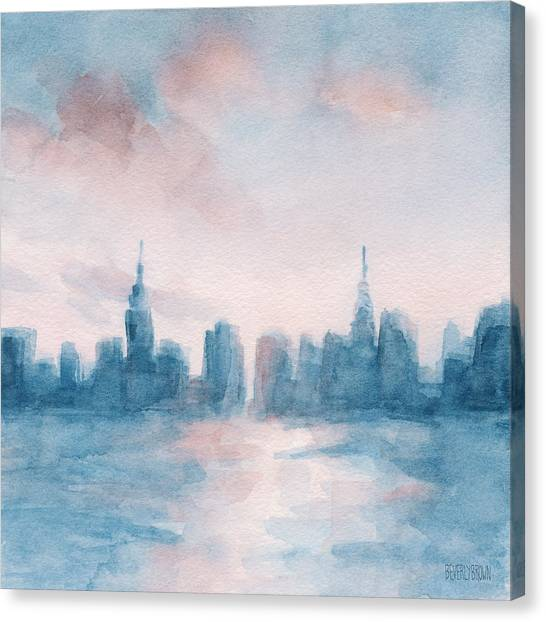 City Sunsets Canvas Print - New York City Skyline Coral And Aqua by Beverly Brown Prints