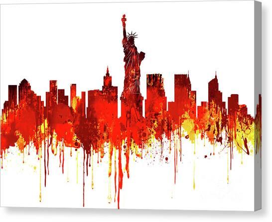 Architecture Canvas Print - New York City Skyline - Watercolour Red by Prar Kulasekara