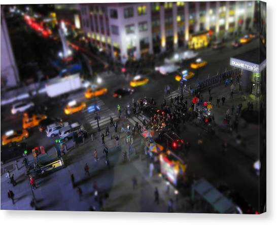 Times Square Canvas Print - New York City Street Miniature by Nicklas Gustafsson