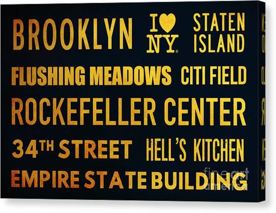 Citi Field Canvas Print - New York City Subway Sign Typography Art 14 by Nishanth Gopinathan