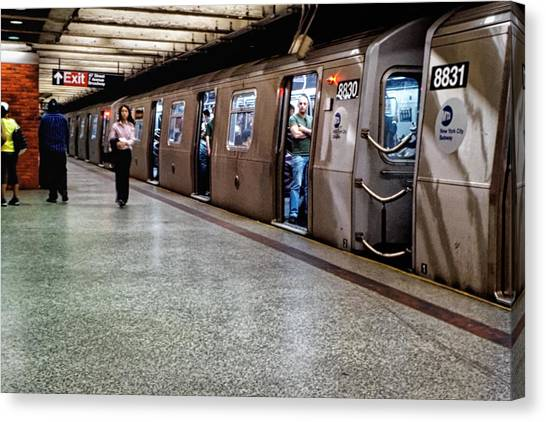 Canvas Print featuring the photograph New York City Subway Stare by Lars Lentz