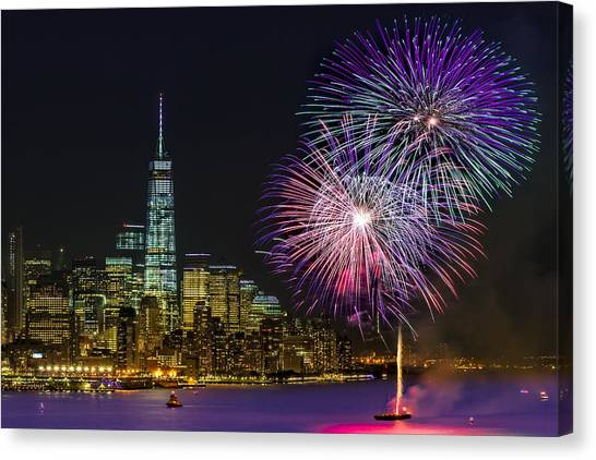 New York City Summer Fireworks Canvas Print