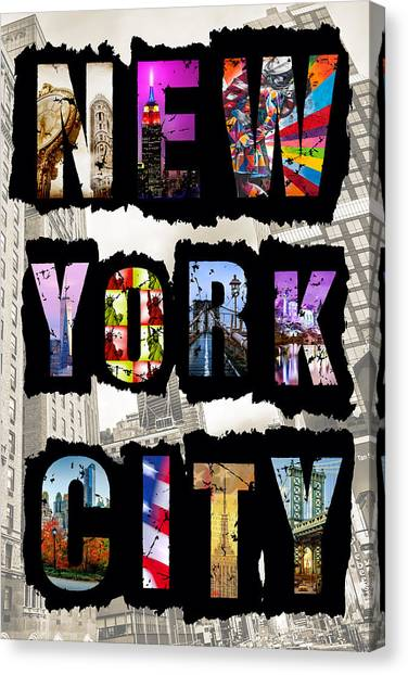 Statue Of Liberty Canvas Print - New York City Text 2 by Az Jackson