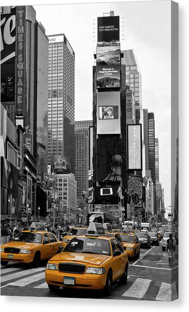 Traffic Canvas Print - New York City Times Square  by Melanie Viola