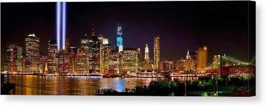 River Scenes Canvas Print - New York City Tribute In Lights And Lower Manhattan At Night Nyc by Jon Holiday