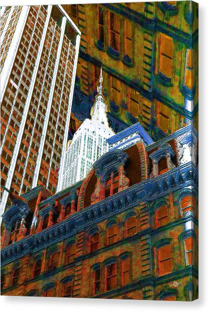 Pre-modern Art Canvas Print - New York City Up Is Down Down Is Up Orange by Tony Rubino