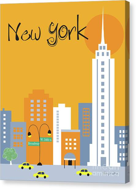 New York City Taxi Canvas Print - New York City Vertical Skyline - Empire State At Dawn by Karen Young