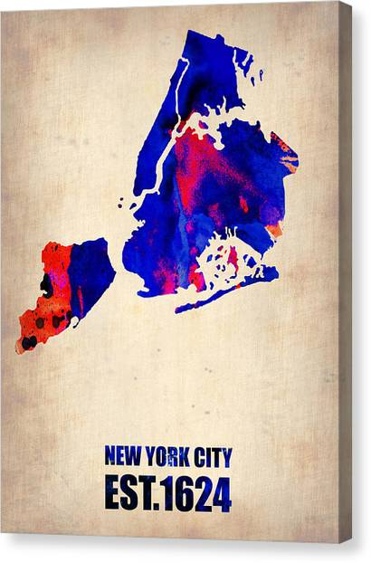 Nyc Canvas Print - New York City Watercolor Map 1 by Naxart Studio