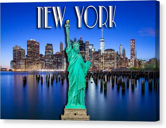Statue Of Liberty Canvas Print - New York Classic Skyline With Statue Of Liberty by Az Jackson