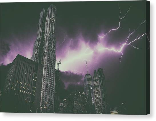 Business-travel Canvas Print - New York Electrical Storm by Martin Newman