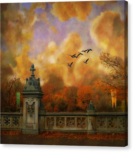 New York Fall - Central Park Canvas Print by Jeff Burgess