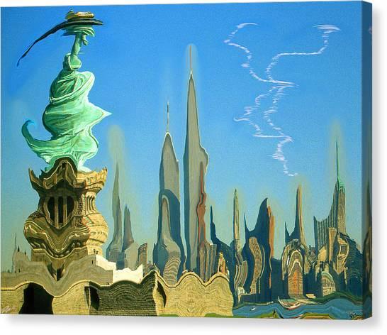 New York Fantasy Skyline - Modern Artwork Canvas Print