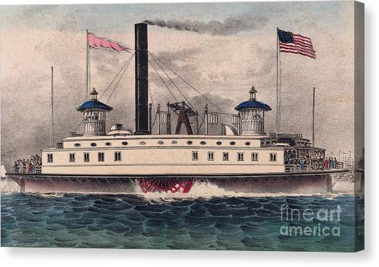 Currier And Ives Canvas Print - New York Ferry Boat by Currier and Ives