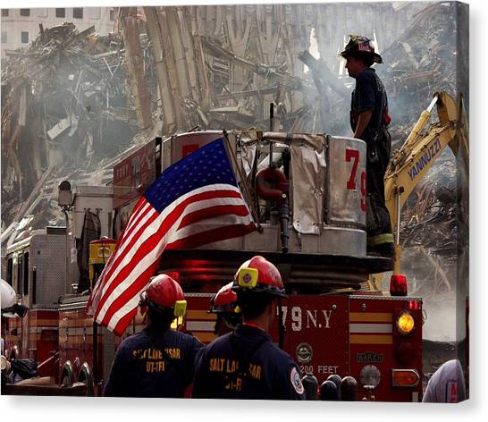 Nyfd Canvas Print - New York Firefighters And Salt Lake by Everett