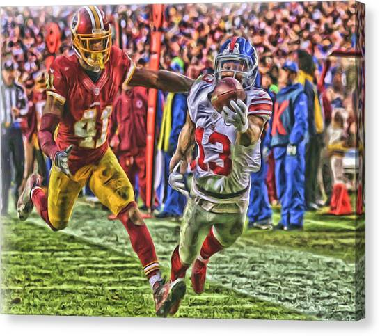 Odell Beckham Jr Canvas Print - New York Giants Odell Beckham Jr Oil Art by Joe Hamilton