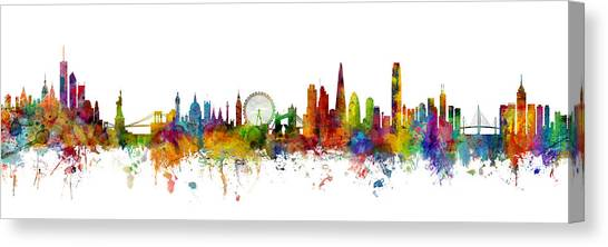 Hong Kong Canvas Print - New York, London And Hong Kong Skyline Mashup by Michael Tompsett
