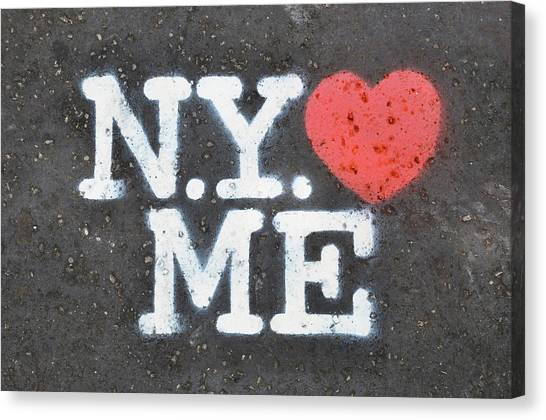 New York Loves Me Stencil Canvas Print