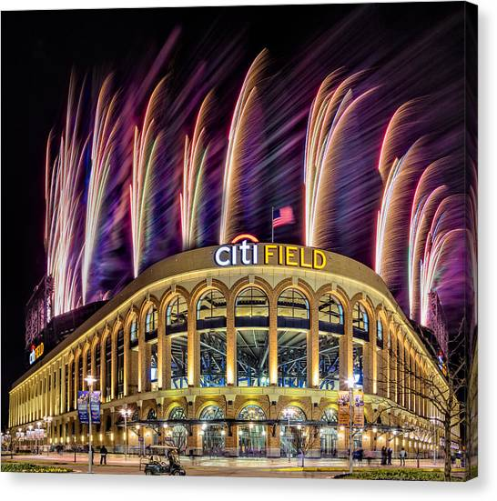 Citi Field Canvas Print - New York Mets Citi Field Fireworks by Susan Candelario