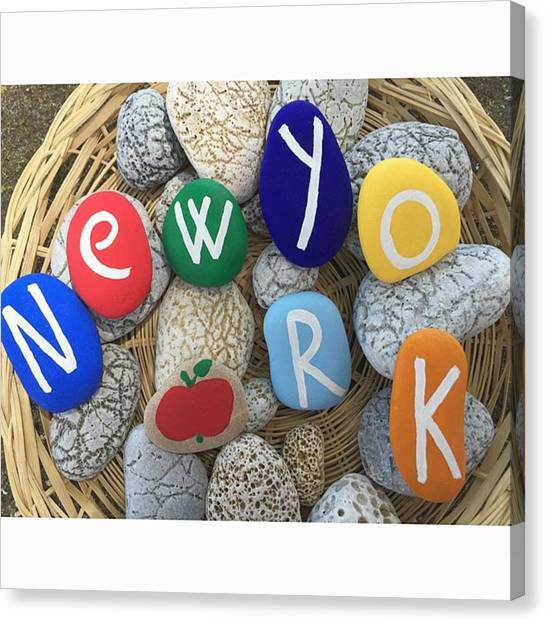 Metropolis Canvas Print - New York On Stones - Your Name On by Adriano La Naia