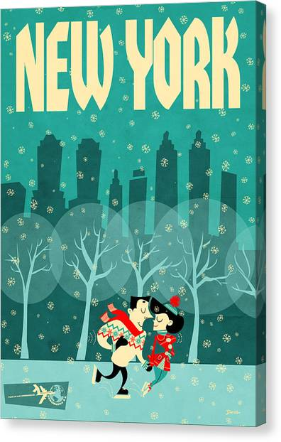 Skating Canvas Print - New York by Daviz Industries