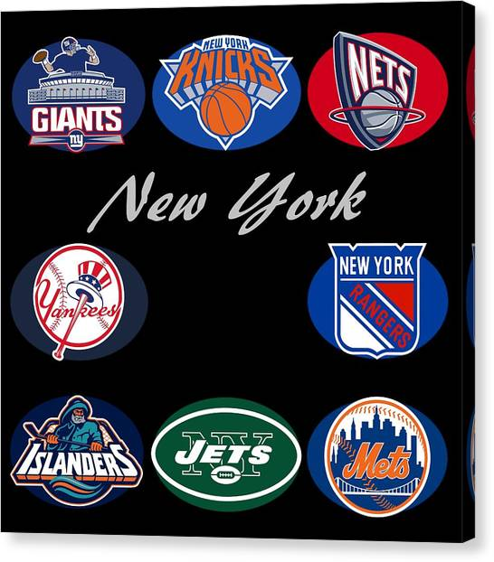 Brooklyn Nets Canvas Print - New York Professional Sport Teams Collage  by Movie Poster Prints