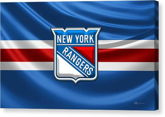 Ice Caves Canvas Print - New York Rangers - 3d Badge Over Flag by Serge Averbukh