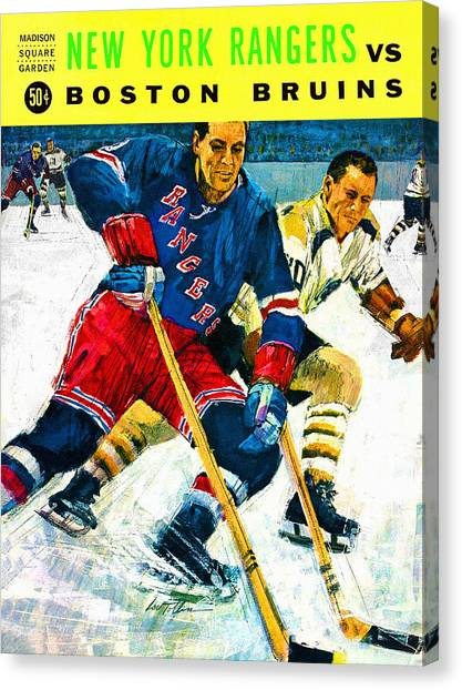 New York Rangers Canvas Print - New York Rangers V Boston Bruins Vintage Program by John Farr