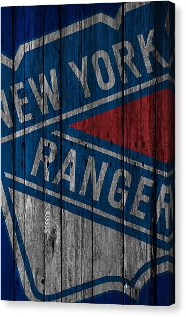 New York Rangers Canvas Print - New York Rangers Wood Fence by Joe Hamilton