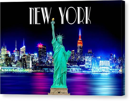 Postcards Canvas Print - New York Shines by Az Jackson
