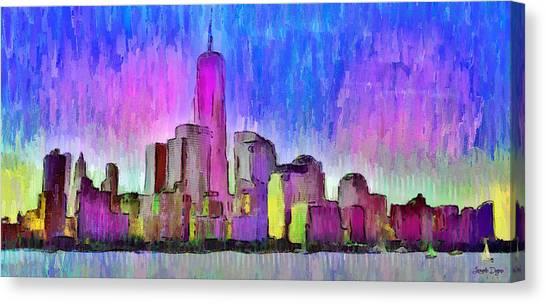 Manhatan Canvas Print - New York Skyline 4 - Pa by Leonardo Digenio