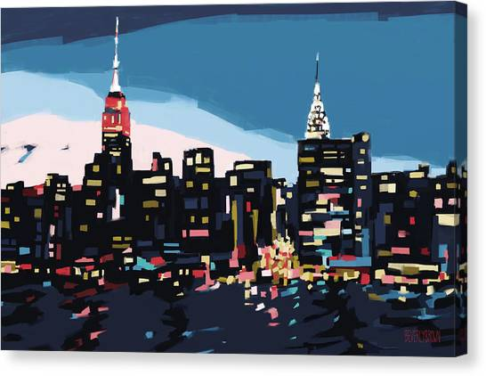 New York Skyline At Dusk In Navy Blue Teal And Pink Canvas Print