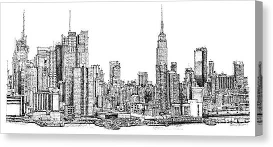 Drawing Canvas Print - New York Skyline In Ink by Adendorff Design