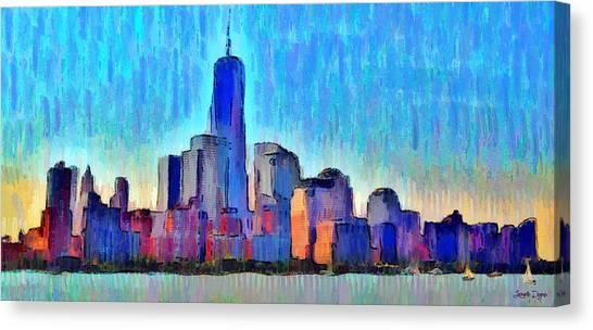 Sea Canvas Print - New York Skyline - Pa by Leonardo Digenio