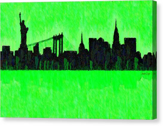 Manhatan Canvas Print - New York Skyline Silhouette Green - Da by Leonardo Digenio