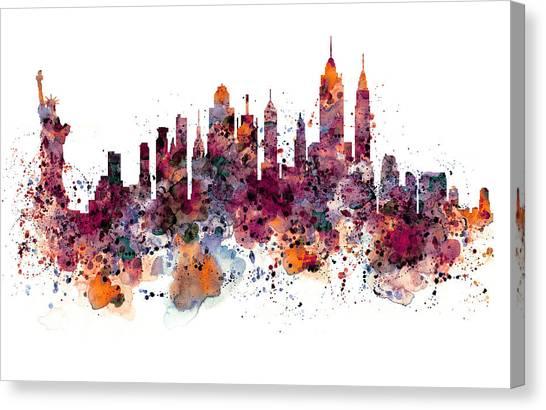 Manhattan Skyline Canvas Print - New York Skyline Watercolor by Marian Voicu