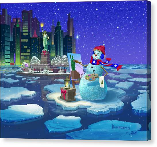 Statue Of Liberty Canvas Print - New York Snowman by Michael Humphries