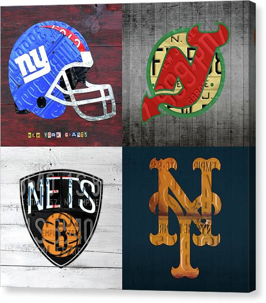 New York Giants Canvas Print - New York Sports Team License Plate Art Collage Giants Devils Nets Mets V6 by Design Turnpike