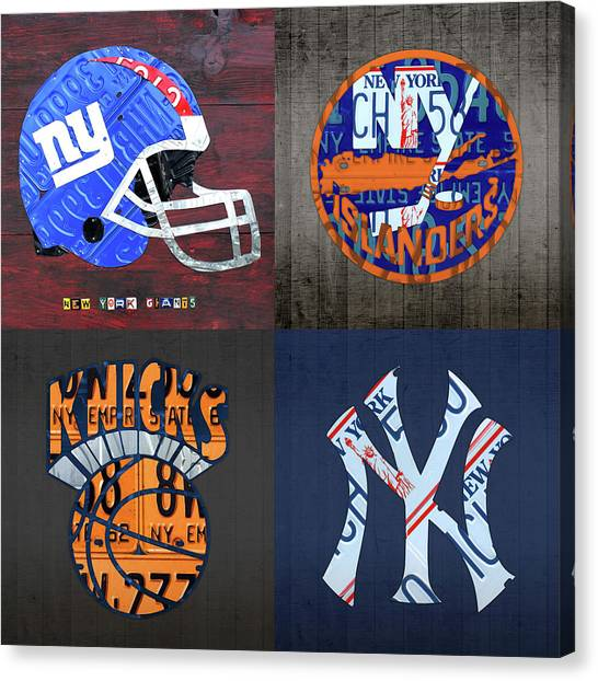 New York Knicks Canvas Print - New York Sports Team License Plate Art Collage Giants Islanders Knicks Yankees by Design Turnpike