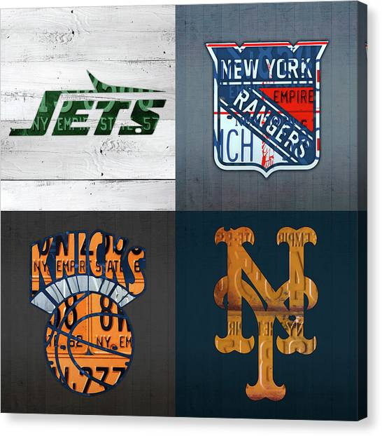New York Jets Canvas Print - New York Sports Team License Plate Art Collage Jets Rangers Knicks Mets V2 by Design Turnpike