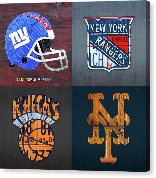 New York Knicks Canvas Print - New York Sports Team Logo License Plate Art Giants Rangers Knicks Mets V8 by Design Turnpike