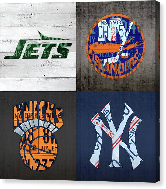 New York Knicks Canvas Print - New York Sports Team Logo License Plate Art Jets Islanders Knicks Yankees V5 by Design Turnpike