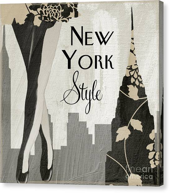 Manhattan At Night Canvas Print - New York Style II by Mindy Sommers