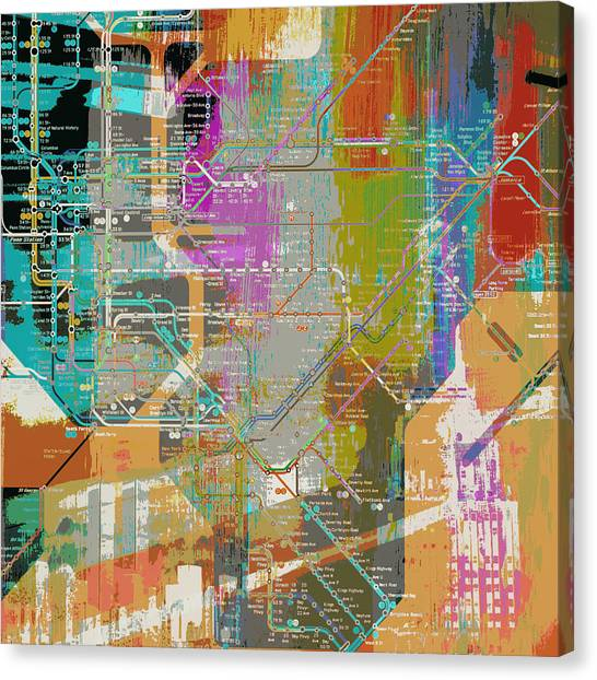 City Subway Map Art.New York City Subway Map Canvas Prints Fine Art America